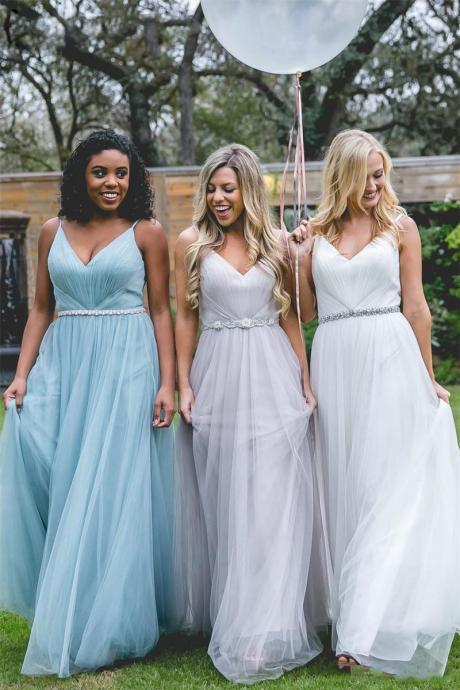 New Cheap Long Bridesmaid Dresses 2017 A Line Floor Length Sweetheart Tulle Spaghetti Straps Prom Dress,Prom Dress 2017