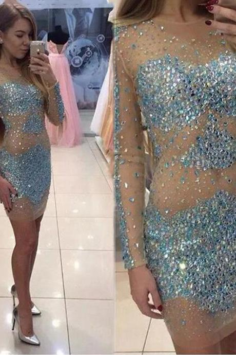 Sexy See Through Champagne Tulle Cocktail Dress 2017 short mini luxury crystal cocktail dresses Formal party Prom gowns prom dress