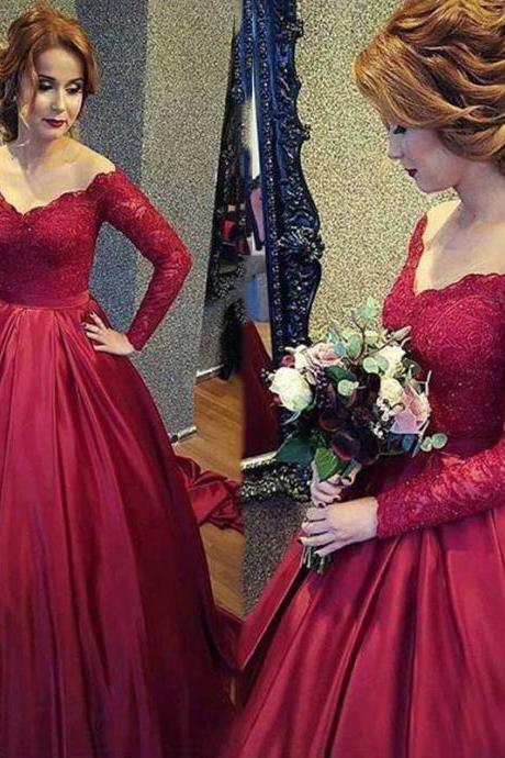 Fashion Burgundy Special Occasion Ball Gown Prom Dresses Sexy V-neckline Top Lace Evening Party Dress 2017 Custom