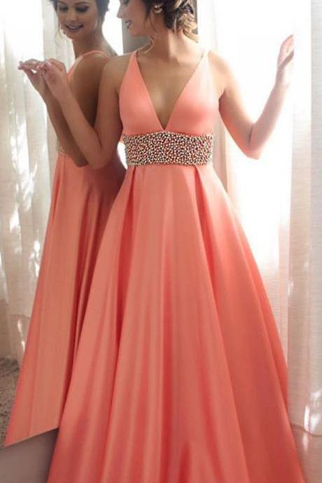 Deep V Neck 2017 Prom Dress, Evening Dresses, A-line Long Prom Dress, Coral Prom Dress, Sexy Woman Evening Gown, Party Dress, Homecoming Graduation Dresses