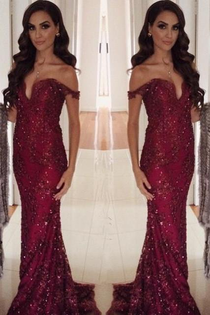 New Sexy Mermaid Prom Dress Cap Sleeve Sweetheart Lace Appliques Beading Prom Gown Wine Red Long Prom Dresses