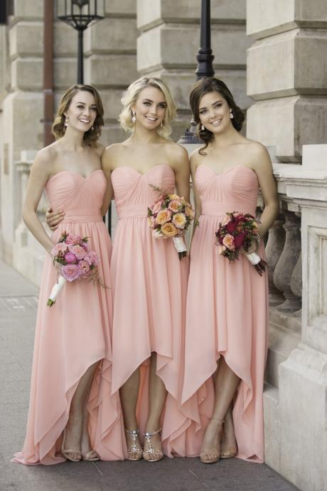 New Cheap Long Bridesmaid Dresses 2017 A-Line Sweetheart Floor-Length Pink Chiffon Bridesmaid Dress With Pleats