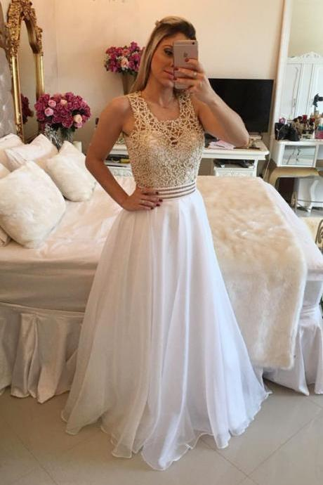 White A-line Beads Chiffon Long Prom Dress, White Evening Dress,Prom Dress 2017,Evening Dress