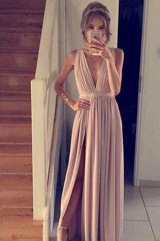 Beautiful Prom Dresses V-Neck Sleeveless Lace Bodice Evening Dresses Party Gowns Prom Dress Pleated Maxi Dress with High Side Slit