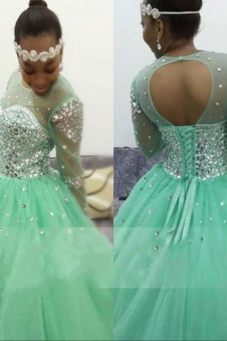 Sparkling Mint Green Prom Dresses 2017 Gliiter Rhinestones Beaded Open Back Ball Gown Long Sleeves Party Dress For Graduation