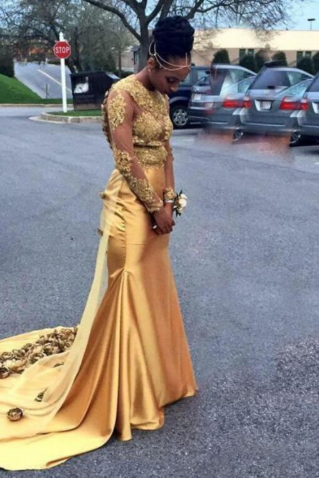 2017 Sexy Gold Mermaid Prom Dresses with Golden Flowers Sheer Long Sleeves Open Back Handwork Gold Prom Dress
