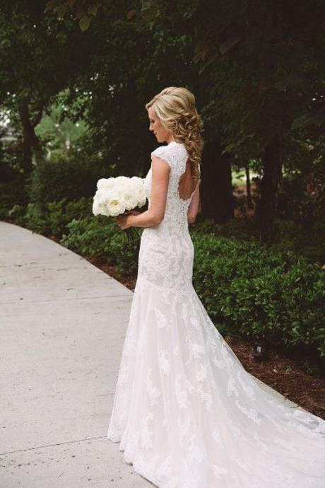 Sheath Wedding Dresses Sleeveless V Neck Court Train Lace Bridal Dress Vestido De Noiva Cap Sleeves Wedding Dress
