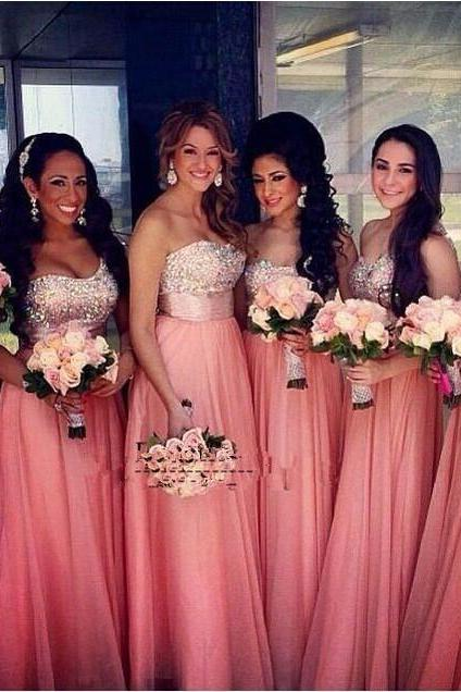 Elegant One Shoulder Chiffon Custom Made Coral Floor Length Bridesmaid Dresses Crystal Beaded Long Wedding Guest Dress to Party