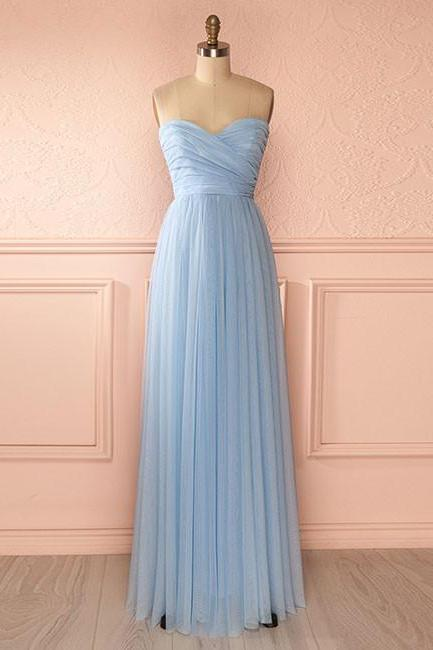 Bridesmaid Dresses Long,Bridesmaid Dresses 2017,Bridesmaid Dresses,Custom Bridesmaid Dresses,A-Line Sweetheart Light Blue Chiffon Long Bridesmaid Dress With Pleats
