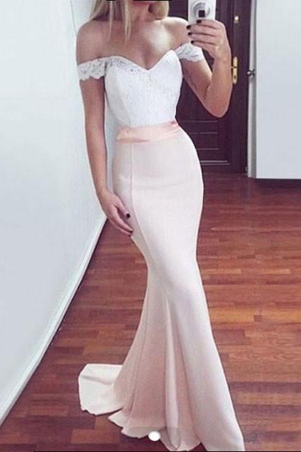 Custom Made White Off-Shoulder Lace Floor Length Mermaid Bridesmaid Dress