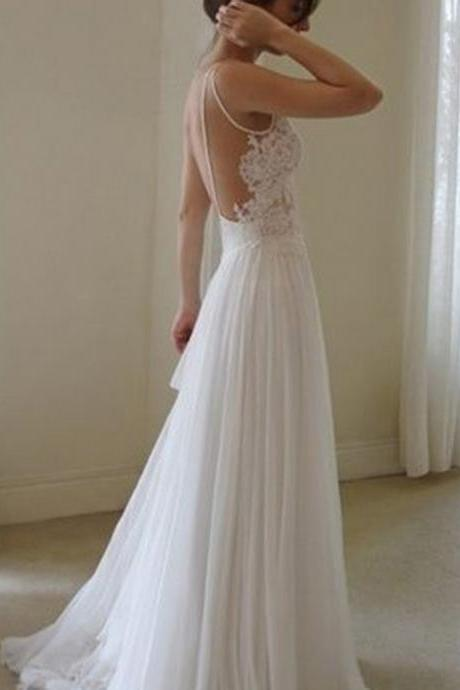 Wedding Dresses,2017 Sexy Backless Wedding Dress, Beautiful Backless Wedding Dresses and Gowns, Lace and Tulle Wedding Dress, Modern Jewel Sleeveless Sweep Train Backless Wedding Dress with Lace