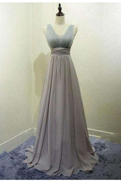 Bridesmaid Dresses,prom Dresses,Bridesmaid Dresses Long,Chiffon Prom Dresses 2017,Simple A-Line Sleeveless Chiffon Long Bridesmaid Dress With Pleats
