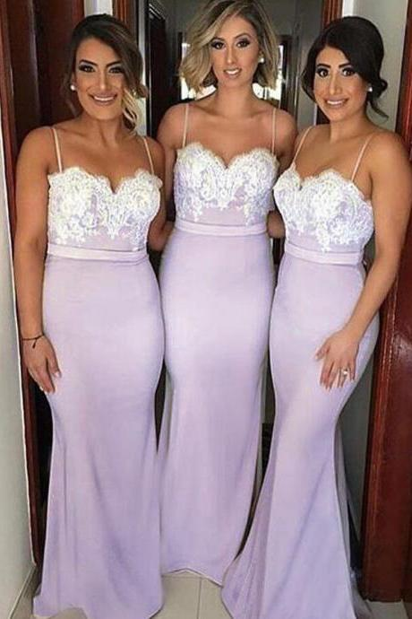 Mermaid Bridesmaids Dresses 2017,Bridesmaid Dresses,prom Dresses,Bridesmaid Dresses Long,Sexy Mermaid Spaghetti Straps Backless Sweep Train Bridesmaid Dress With Lace