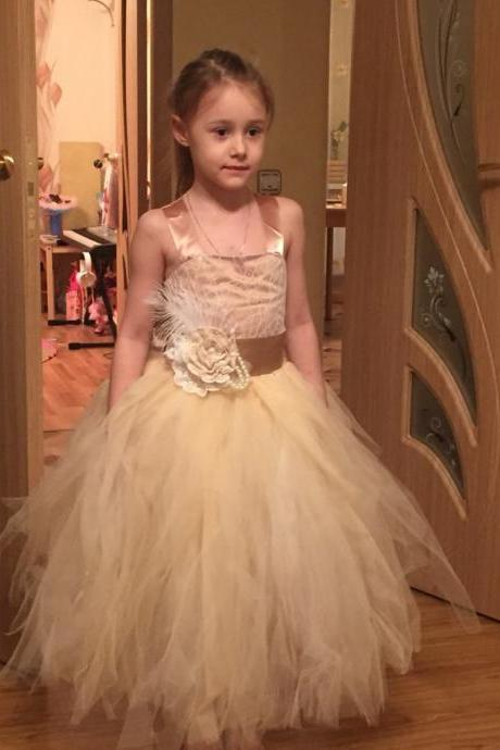 Flower girl dress,Vintage Formal Communion Dress Square Collar Lace Up Appliques Sleeveless Tulle Ball Gowns Ruffle Pageant Flower Girl Dress 1-14