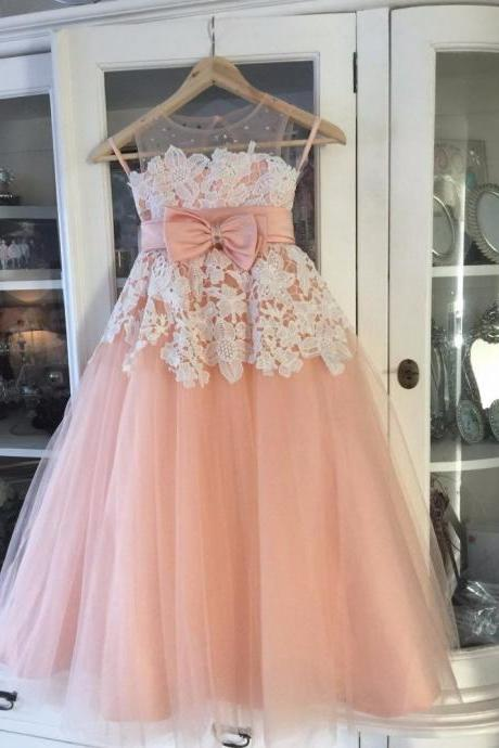 Flower girl dress,Vintage Little Flower Girls Dresses Peach Sweetheart Sleeveless Lace Appliques Sheer Neckline First Communion Dresses Girls Party Gowns