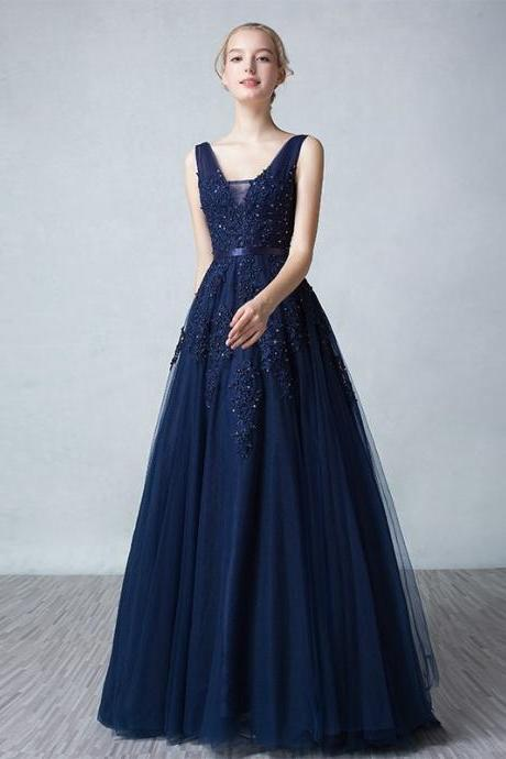 navy blue prom dress,a line prom dress,v neck prom dress,sexy prom dress,lace prom dress,long prom dress,pearl prom dress,sweep train prom dress,backless prom dress,evening dress,formal gown,party dress,wedding guest gown