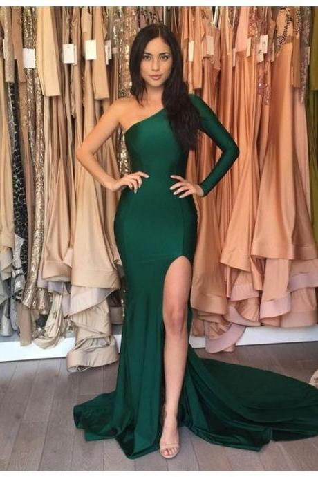 Prom Dresses,Emerald Green Long Mermaid Prom Dresses,Sexy Evening Dress,Mermaid Prom Dresses,One Shoulder Evening Gowns,Long Sleeve Prom Dresses,Mermaid Formal Gown,Prom Dresses with Slit,Evening Dresses for Women Formal