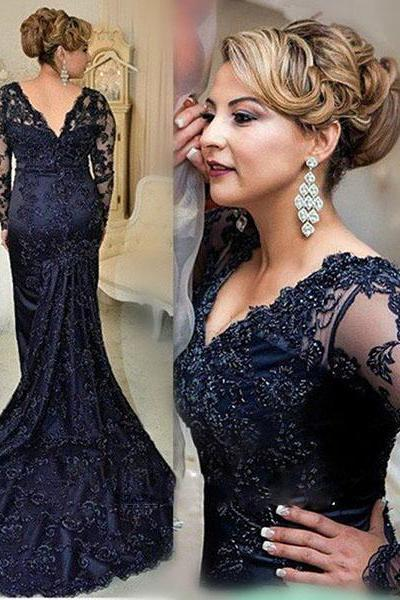 Mother Dress for Wedding,Navy Blue Long Sleeves Beads Appliques Mermaid Mother of the Bride Dresses 2018 Formal Party Evening Gowns