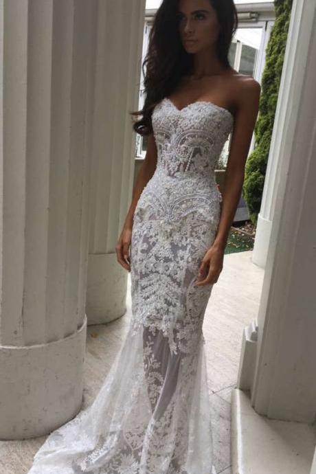 2017 Charming White Lace Wedding Dress,Sexy Sweetheart Bridal Dress,Sexy See Through Wedding Dress,Wedding Dresses Long