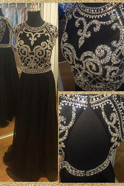 Prom Dress, Beading Prom Dress, Black Beading Dresses,Keyhole Back Prom Dress, Chiffon Prom Dress, Black Prom Dress, 2017 Prom Dress, Evening Dress, Party Dress