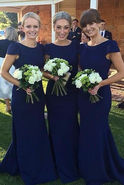 Royal blue bridesmaid dress, simple short sleeve bridesmaid dress, cheap mermaid bridesmaid dress,Long Sleeve Bridesmaid Dresses, Mermaid Long Bridesmaid Dress, Elegant Bridesmaid Dress, Wedding Guest Dress, long bridesmaid dress, dress for wedding, wedding party dress, elegant simple bridesmaid dress, long bridesmaid dress