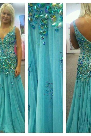 2017 New Gorgeous V Neck A Line Sparkly Crystal Beaded Chiffon Long Prom Dress See Through Back Formal Party Gown Evening Dresses
