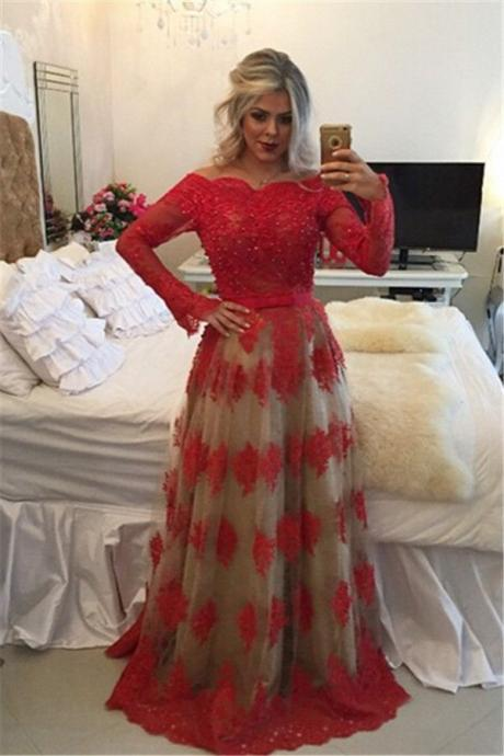 2017 Cheap Prom Dresses, Evening Dress Prom Gowns, A-Line Prom Dresses,Long Prom Dresses,Formal Women Dress,Red Prom Dress