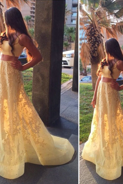 Yellow Prom Dress , Sexy Yellow Dress , Shiny Prom Dress , Charming Prom Dress,Sleeveless Two Piece Prom Dress,Sexy Prom Dresses,Appliques Lace Homecoming Dress , Free Custom Made Dress