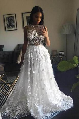 2017 Charming White Lace Wedding Dress,Sexy Sleeveless Bridal Dress,Sexy See Through Wedding Dress,Wedding Dresses Long