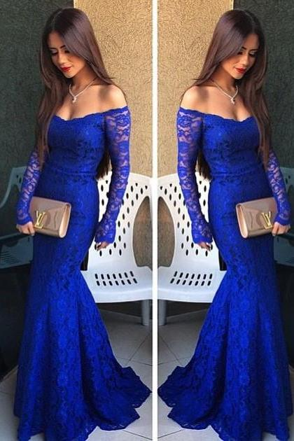 Royal Blue Prom Dresses,Lace Evening Dress,Sexy Off The Shoulder Prom Dress,Backless Prom Dresses With Long Sleeves,Charming Prom Gown,Open Back Prom Dress,Mermaid Fashion Evening Gowns for Teens