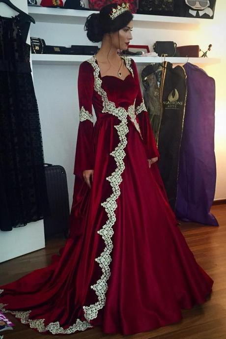 Charming Prom Dress, burgundy prom dresses,velvet prom dresses,Muslim prom dress,Long Sleeves Evening Gowns,Wedding Party Dress