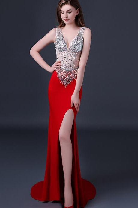 Red Prom Dresses,Sexy Prom Dress,Beading Prom Dresses,New Style Beaded Prom Dresses,Evening Gowns,Evening Dresses