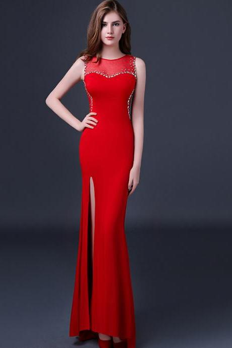 Red Prom Dresses,Red Mermaid Prom Dress,Beading Prom Dresses