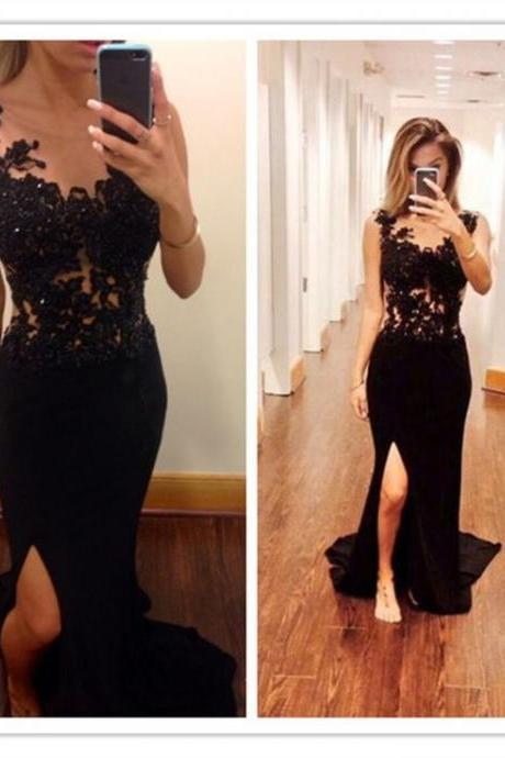 Black Lace Prom Dresses,Beading Prom Dresses,Front Split Sexy Handmade Prom Dresses,Mermaid Prom Dresses,Long Party Gowns Evening Formal Dresses 2017
