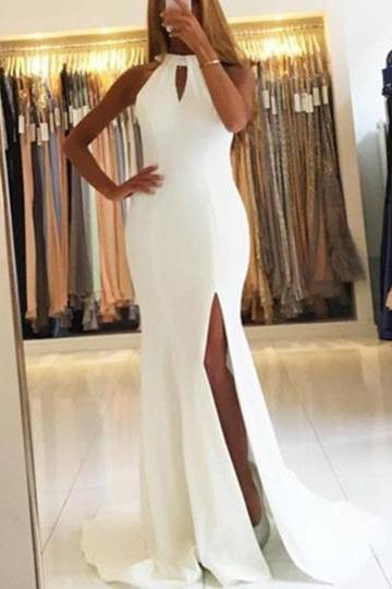 2017 White Long Mermaid Halter Split-Front Sleeveless Sweep Train Evening Dress