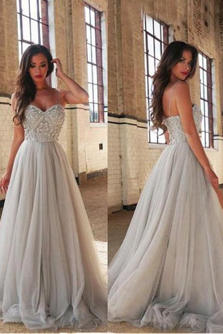 2017 Appliques Long Aline Grey Sexy Tulle Evening Dresses fashion,Distinctive Tulle Spaghetti Straps Neckline A-line Evening Dresses