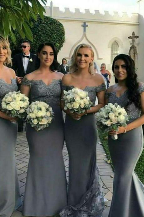 Grey Bridesmaid Dresses 2018 Mermaid Spandex Lace Appliques Off the Shoulder Bridesmaid Dress with Train Wedding Party Dresses Maid of Honor