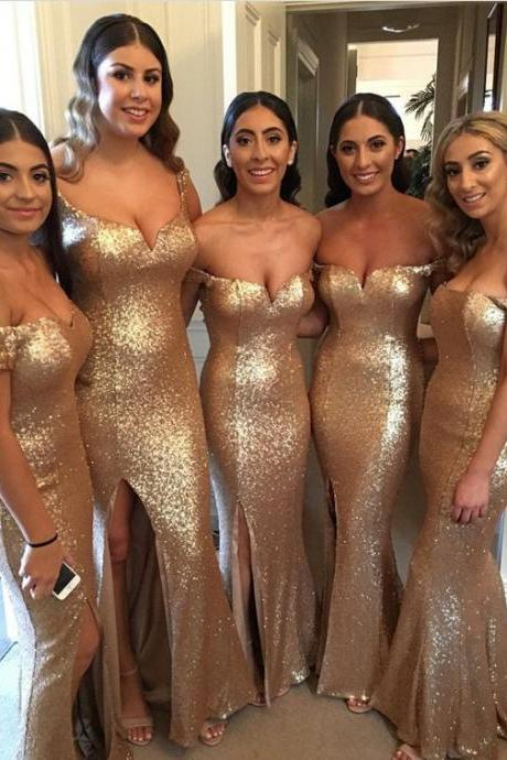 Gold Sequins New Bridesmaid Dresses 2018 Mermaid Maid of Honor Dress Off the Shoulder Plus Size Bridesmaid Dress Wedding Party Dresses Wedding Guest Dress