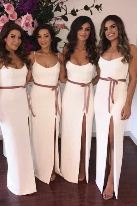 Simple Sheath New Bridesmaid Dresses 2018 White Ivory Maid of Honor Dress Spaghetti Straps Side Slit Plus Size Bridesmaid Dress with Sash Wedding Guest Party Dresses