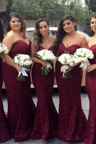 Burgundy Bridesmaid Dresses New 2018 Mermaid Wine Red Maid of Honor Dress Sweetheart Plus Size Bridesmaid Dress Wedding Guest Party Dresses Formal Party Gowns