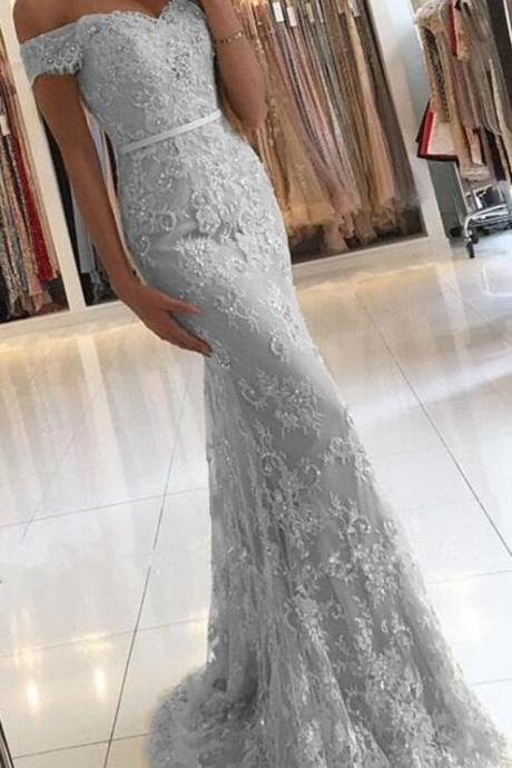 Sexy Grey Silver Mermaid Lace Tulle Prom Dresses 2018 Off the Shoulder Charming Prom Dress Long Evening Dresses New Arrival Prom Party Gowns for Women