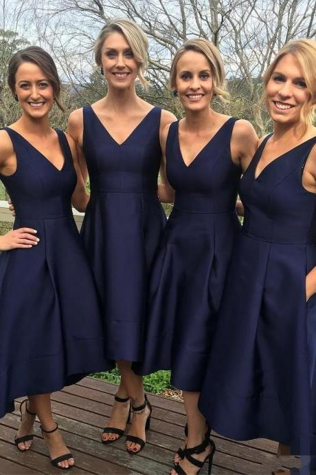 Bridesmaid Dresses 2018,Classic A-line V-neck Navy Blue High Low Bridesmaid Dress, Short Bridesmaid Dress, Short Prom Dress, Navy Blue Bridesmaid Dress, Wedding Party Dress, Cheap Bridesmaid Dress