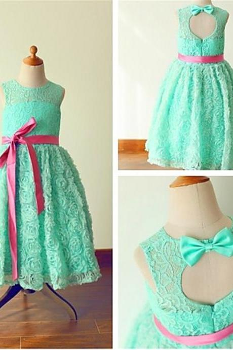 New Arrival Custom Tea Length Flower Girl Dresses Mint Green Flowers Petals Lace Jewel Flower Girl Dress A Line Bow Sash Girls Formal Party Gowns