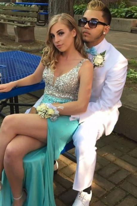 Shining Crystals Sexy Sheath Aqua Prom Dresses 2018 Mint Spandex High Side Slit Long Party Gowns V neck Evening Dress Prom Dress Newest
