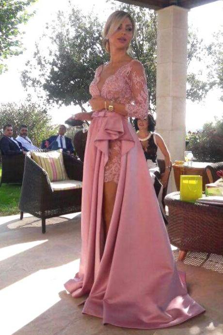 Elegant Deep V Neck Long Lace Sleeves Satin Prom Dresses with Ruched Slit Rose Pink Evening Dresses Vestidos Women Wedding Guest Gowns
