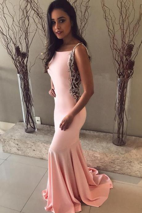 Stunning Crystal Beaded Spaghetti Straps Backless Mermaid Prom Dresses Long Pink Satin Evening Dresses 2018 Formal Party Gowns Long Vestidos de festa