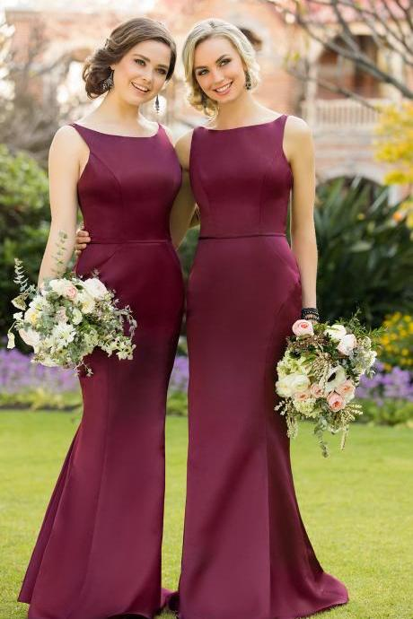 Custom Made Burgundy Long Mermaid Bridesmaid Dress