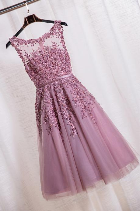 Scoop Tea Length School Homecoming Dresses Applique Pearls A Line Short Prom Formal Evening Gowns