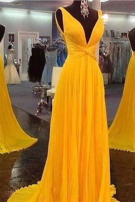 Yellow Deep V Neck A Line Prom Dresses 2018 Long Backless Chiffon Prom Dress Evening Party Gowns