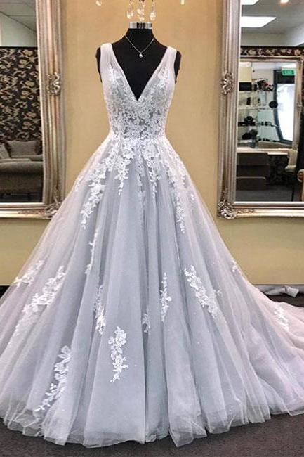 Deep V Neck Silver Grey Prom Dresses A Line Lace Appliques Elegant Tulle Evening Dress Corset Back
